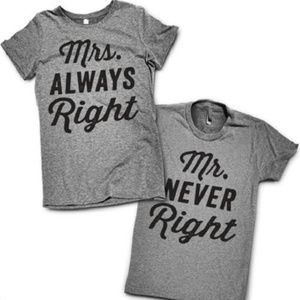 Mrs Always Right + Mr Never Right T-Shirt Set